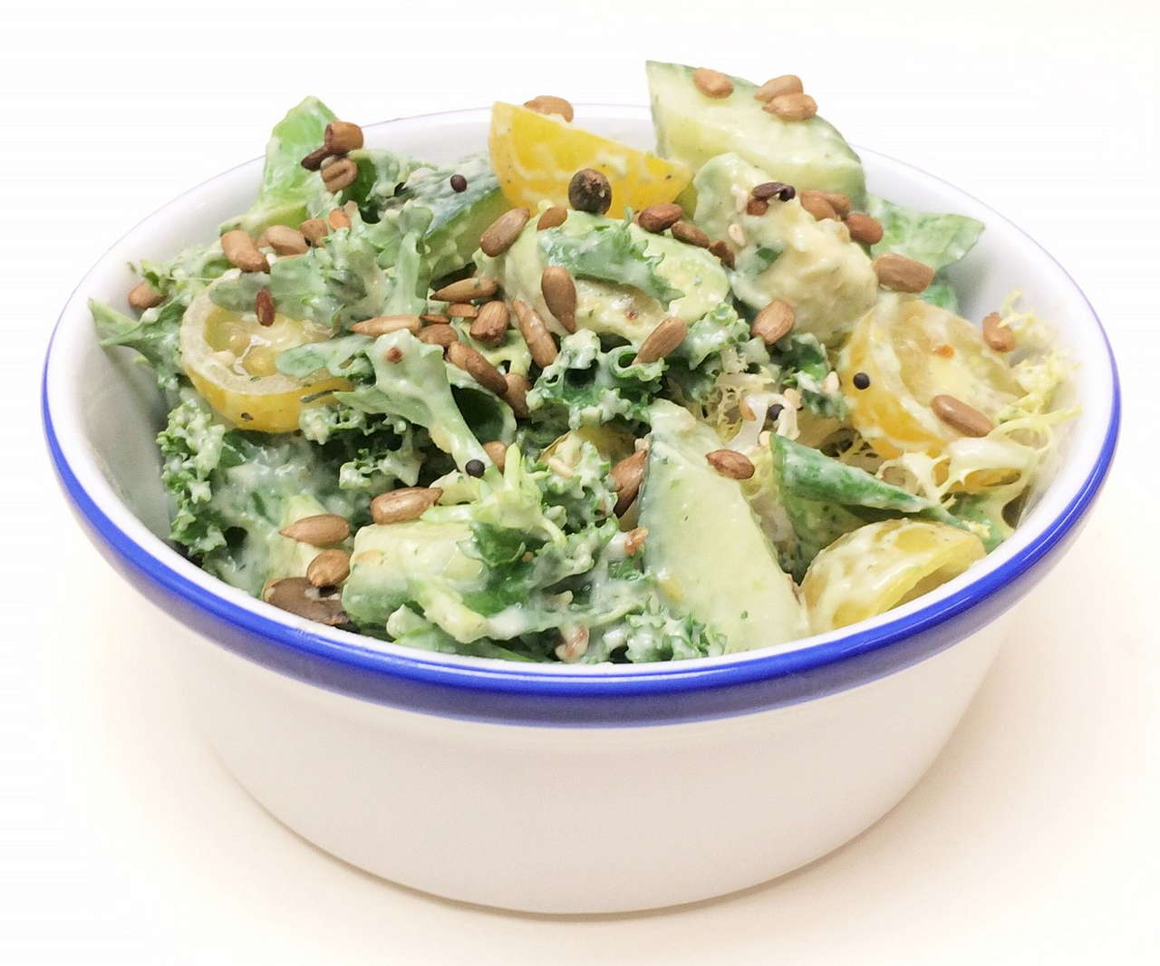 kale & avocado salad with green goddess dressing